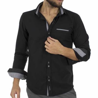 Ανδρικό Μακρυμάνικο Πουκάμισο Slim Fit CND Shirts 2600-8 Μαύρο 9fb39aa856a