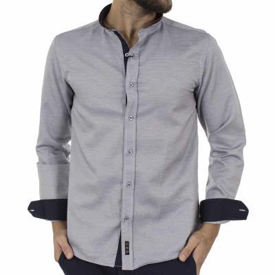 Ανδρικό Μάο Μακρυμάνικο Πουκάμισο Slim Fit CND Shirts 3550-6 Γκρι 9746ed83d61