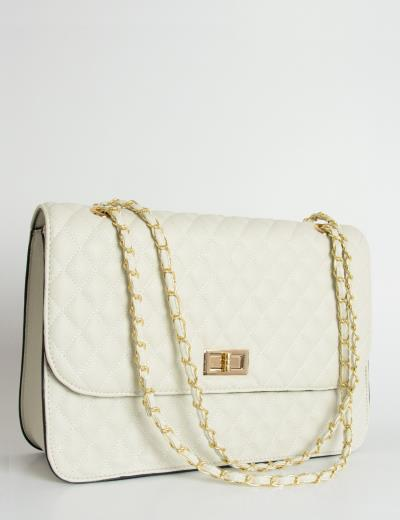 6303811b92 Γυναικεία καπιτονέ τσάντα ώμου λευκή δερματίνη 60663C