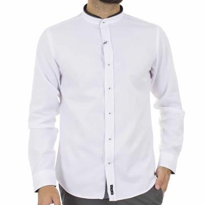 Ανδρικό Μάο Μακρυμάνικο Πουκάμισο Slim Fit CND Shirts 3550-4 Λευκό a62039c68fb