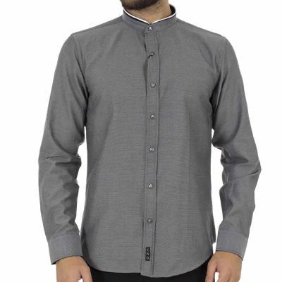 Ανδρικό Μάο Μακρυμάνικο Πουκάμισο Slim Fit CND Shirts 3550-3 σκούρο Γκρι e928acd4b05