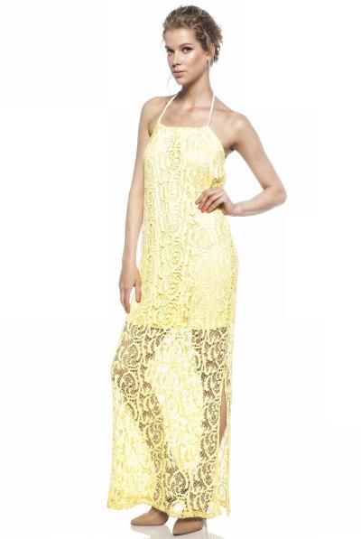 caad3fae50ff φόρεμα δαντελα κιτρινο - Totos.gr