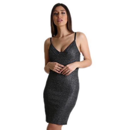 Μίνι φόρεμα μαύρο με γκλίτερ και επένδυση στο στήθος b3111fdc69b