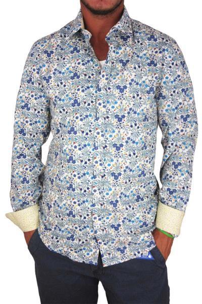 9cff726e9db8 Missone ανδρικό πουκάμισο με μπλε φλοράλ - ms-7051-bl