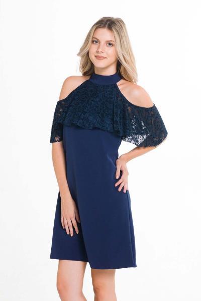 3f130b0cbaa9 Φόρεμα σε γραμμή Α δαντέλα βολάν - 17557