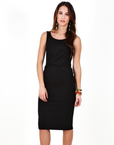 e5c1d602a5de Εφαρμοστό μίντι φόρεμα με λεπτομέρεια εμπρός