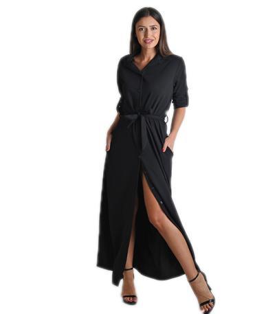 ed8a2a0a99e4 Φόρεμα μάξι με κουμπιά και ζώνη (Μαύρο)