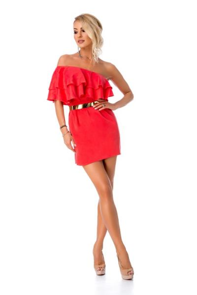 9272 RO Μίνι φόρεμα με έναν ώμο βολάν και ζώνη - Κόκκινο Κοραλί ee7b709db0d