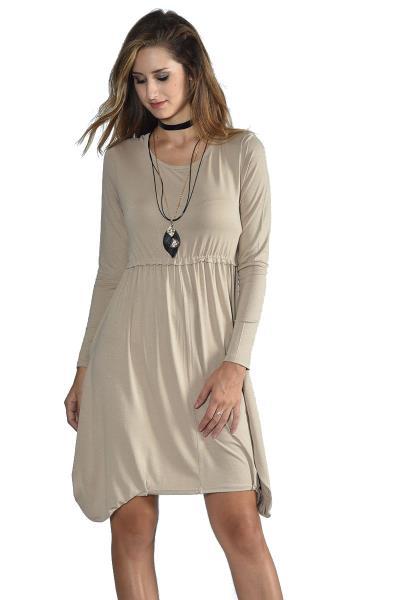 1b19a75ca296 Ασύμμετρο μακρυμάνικο μίνι φόρεμα - Μπεζ