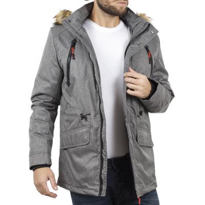 Ανδρικό Μακρύ Μπουφάν Parka Jacket με Κουκούλα ICE TECH G629 Γκρι 781c1cc3ff4