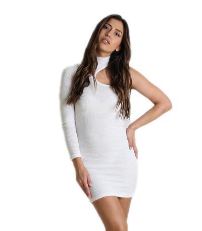 fd2a0a211f36 Φόρεμα πλεκτό ριπ ελαστικό με ένα μανίκι (Λευκό)