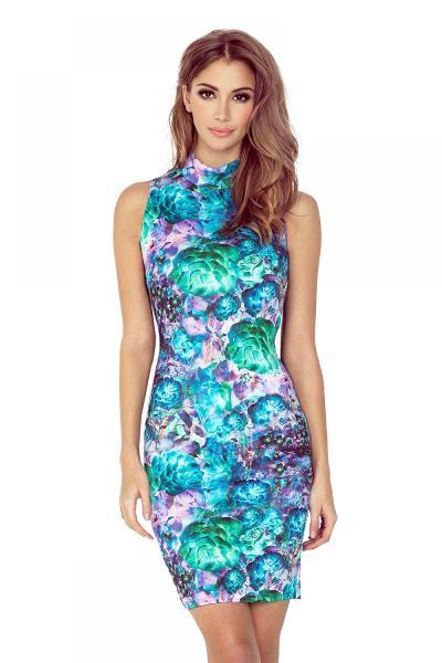 e123c5b1efb7 Αμάνικο φλοράλ μίνι φόρεμα με δαντέλα - Μέντα