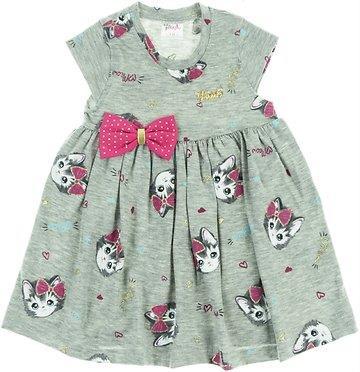 be6087c092b Baby Pink παιδικό μακό φόρεμα «Adorable Grey Kitten»