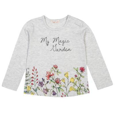 Μπλούζα μελανζέ με τύπωμα λουλούδια (Κορίτσι 12 μηνών-3 ετών) 00221222 ΓΚΡΙ  ΜΕΛΑ 4431d0b59a5