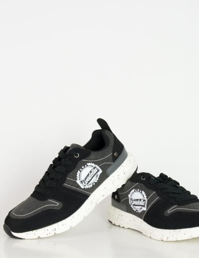 Ανδρικά Sneakers παπούτσια μαύρα υφασμάτινα K70420F 5da862729f3