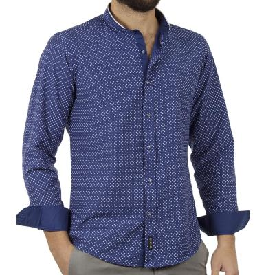 84c74a34e740 Ανδρικό Μάο Μακρυμάνικο Πουκάμισο Slim Fit CND Shirts 4550-4 Μπλε