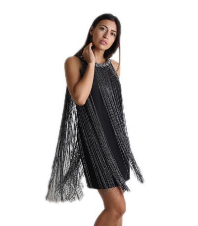 01f9aa625304 Φόρεμα μίντι με κρόσια (Γκρι σκούρο)