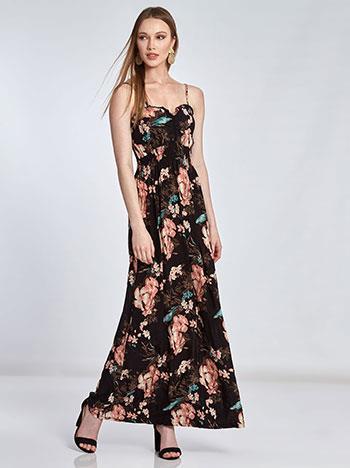 2154a75d8b69 Maxi floral φόρεμα με σούρα SE1539.8175+2