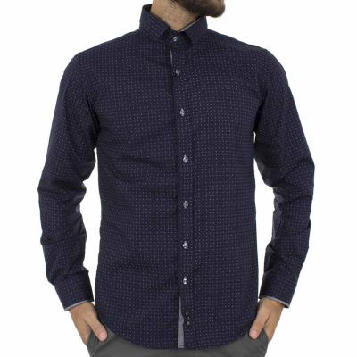 b915f59ad538 Ανδρικό Μακρυμάνικο Πουκάμισο Slim Fit CND Shirts 3700-11 σκούρο Μπλε