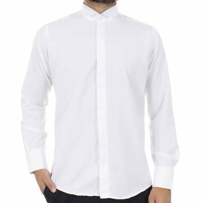 d6a70a6e73ac Ανδρικό Μακρυμάνικο Πουκάμισο με Γιακά για Παπιγιόν CND Shirts 80 Λευκό
