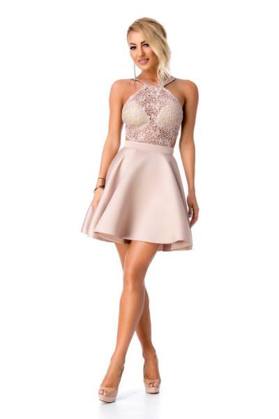 fe4600eaaba3 9279 RO Εντυπωσιακό μίνι φόρεμα με δαντέλα - Μπεζ Ροζ