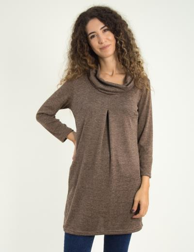 7d44c5eb5f0e Γυναικείο καφέ μάλλινο φόρεμα με φαρδύ γιακά Benissimo 91101F