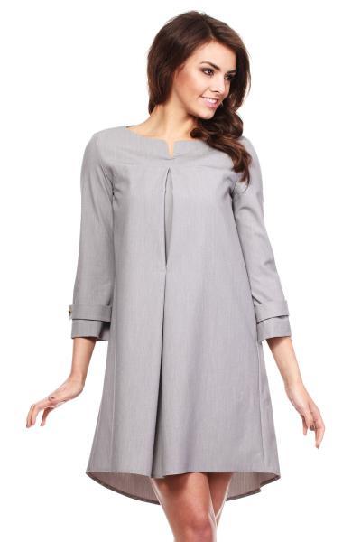 Ασύμμετρο ριχτό μίνι φόρεμα - Γκρι 6e0e7ccbae2