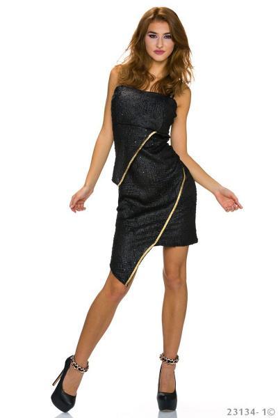 Ασύμμετρο βραδινό μίνι φόρεμα - Μαύρο c40ccd93f21