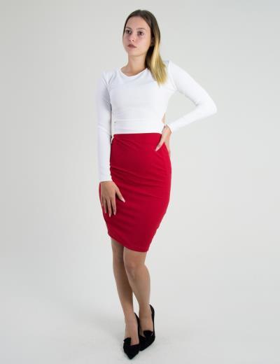 c939b9152d0e Γυναικεία κόκκινη φούστα pencil ψηλόμεση 17696W