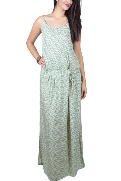 753922966579 Τιραντέ μάξι φόρεμα με πράσινο διαγώνιο ντεσέν - ds-20152
