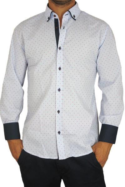 47b900be6061 Bades Shirts ανδρικό ριγέ πουκάμισο με κόκκινο πριντ - bs-13200