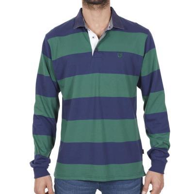 7b9b871f1179 Ανδρικό Μακρυμάνικη Ριγέ Μπλούζα με Γιακά POLO SANTANA SW16-1-100 Πράσινο