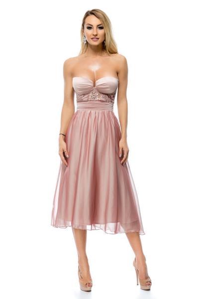 f618f3940384 9282 RO Μίντι στράπλες πριγκιπικό φόρεμα - Ροζ Μπέζ