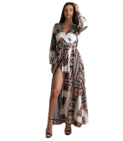 7cfec6a54669 Φόρεμα μάξι κρουαζέ με ζώνη εμπριμέ (Λευκό). Άμεσα διαθέσιμο