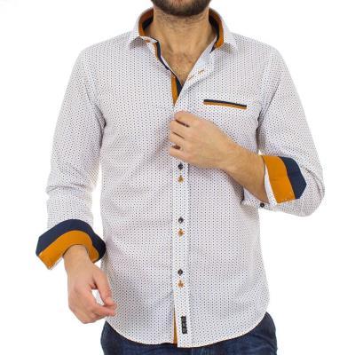 882c79fd563d Ανδρικό Πουά Μακρυμάνικο Πουκάμισο Slim Fit CND Shirts 2600-10 Λευκό