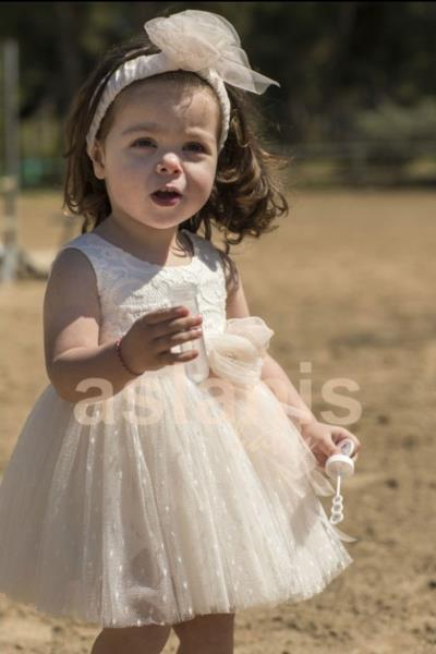 03dd665c242 Φόρεμα Βάπτισης Aslanis Baby Πουά Τούλι Δαντέλα Κωδ:AS8830
