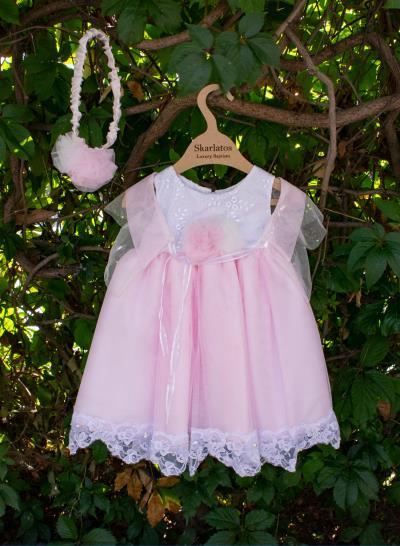 21967e1309d Φόρεμα Βάπτισης Ροζ Τούλι Και Δαντέλα Κωδ:SB039