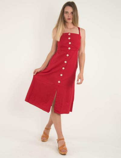 6de8c104674f Γυναικείο κόκκινο μίντι φόρεμα με ράντες και κουμπιά 9926R