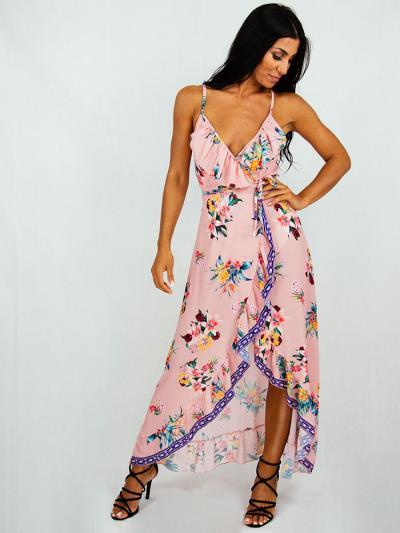 13adfb4e381b Wrap dress ροζ με λουλουδια και σχέδια στο τελείωμα