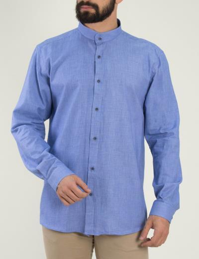 Ανδρικό σιελ πουκάμισο με μάο γιακά Firenze 0191120 e8e64e31bb3