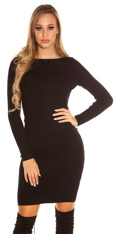 41945 FS Πλεκτό μίντι φόρεμα με κουμπιά πίσω - Μαύρο 126376291b9