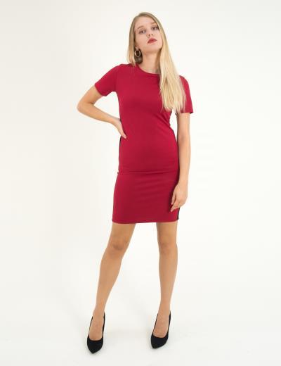 32c4cc8f2b9b Γυναικείο κόκκινο midi φόρεμα κοντομάνικο με ρίγες W192004K
