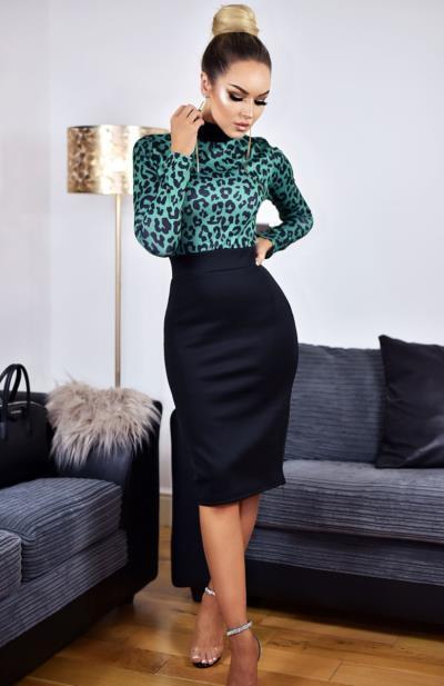 Φόρεμα μίντι με λεοπάρ μπλούζα - Πράσινο cfafd1c3e16