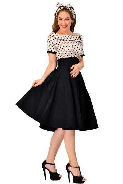 vintage φόρεμα polka dot Emily beige ff1f5514539