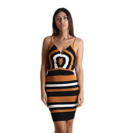 Πλεκτό φόρεμα με ρυθμιζόμενες τιράντες και κόμπο (Κίτρινο) 2e65e8fb7cb