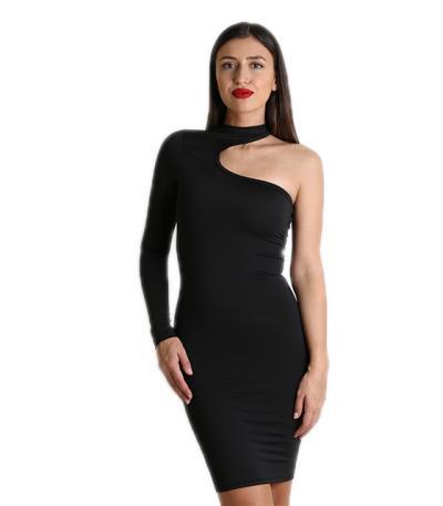 Φόρεμα ελαστικό με ένα μανίκι (Μαύρο) bd1aeff649c
