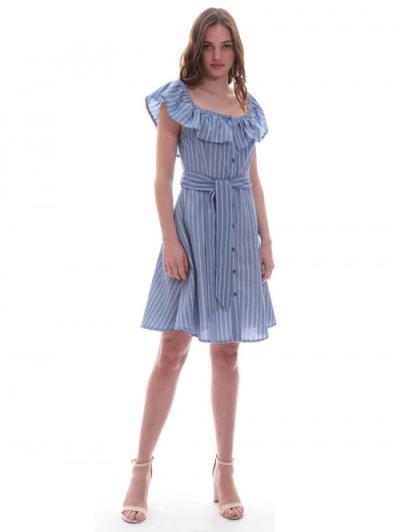 2a71f5a9b255 Φόρεμα μπλε ριγέ βολάν - ΜΠΛΕ