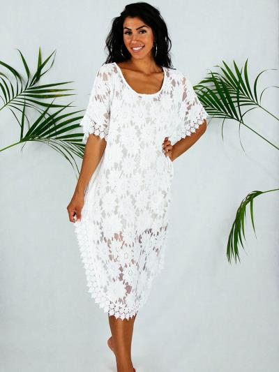 15412741ac5e Φόρεμα καφτανι αερινό λευκό όλο δαντέλα