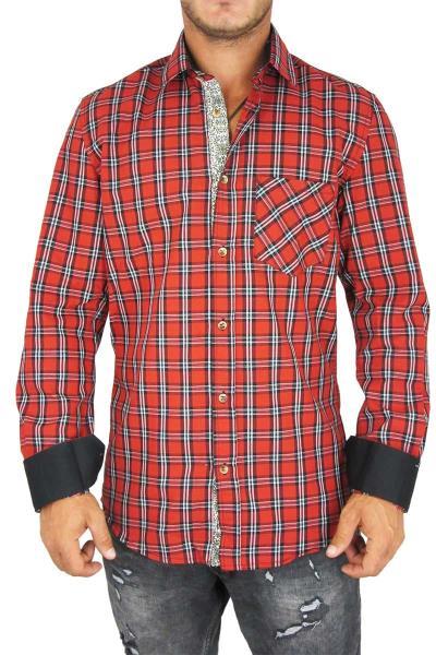 8374367f11ea Missone ανδρικό πουκάμισο καρό κόκκινο-μαύρο - ms-851