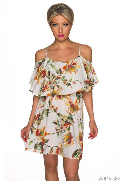 f2cb3a1d7e4e Φλοράλ μίνι φόρεμα με βολάν - Άσπρο Πολύχρωμο